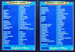 Sega Super Play: index cards